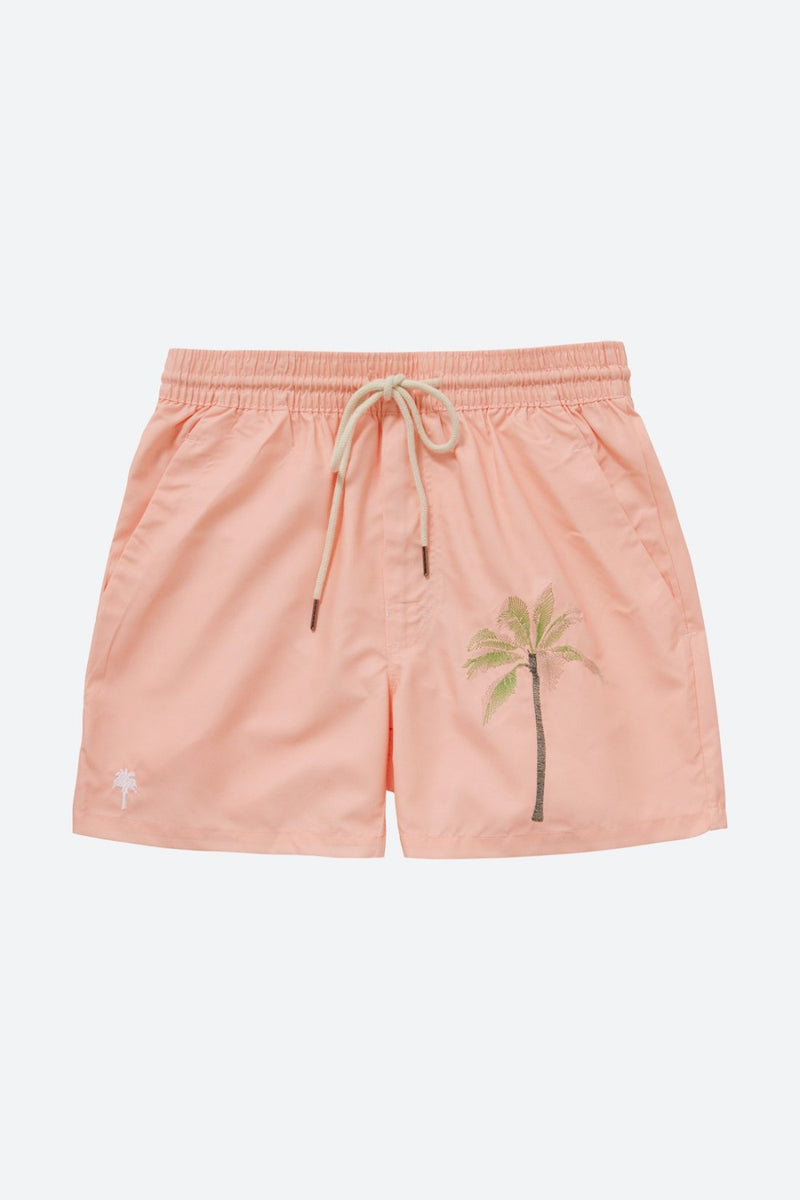 Embroidered Palm Peach Swim Trunks