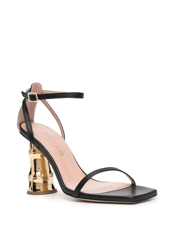 Bacio Black with Gold Heel