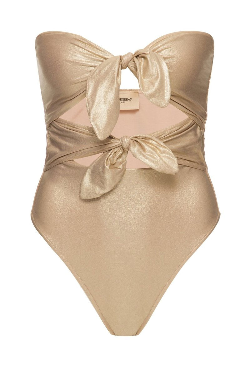 Strapless High leg Metallic Swim Suit