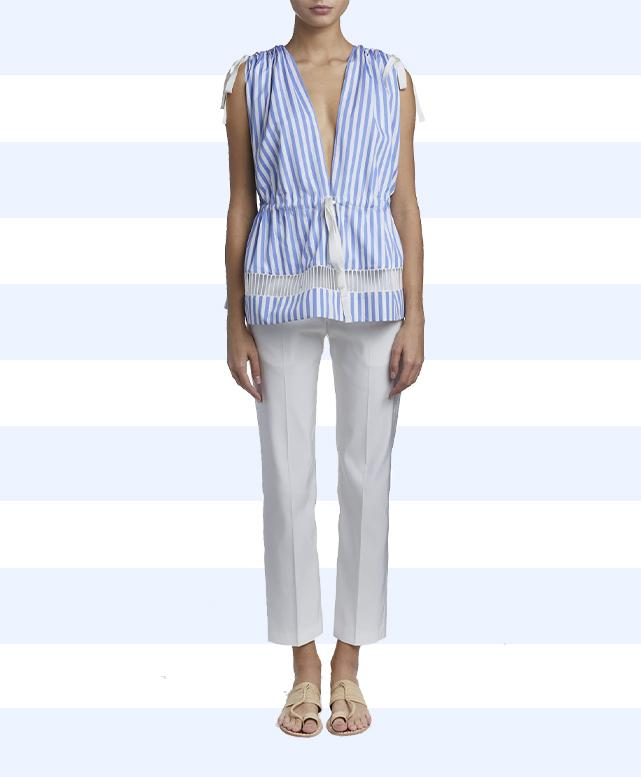 Lace Trimmed Striped Poplin Top