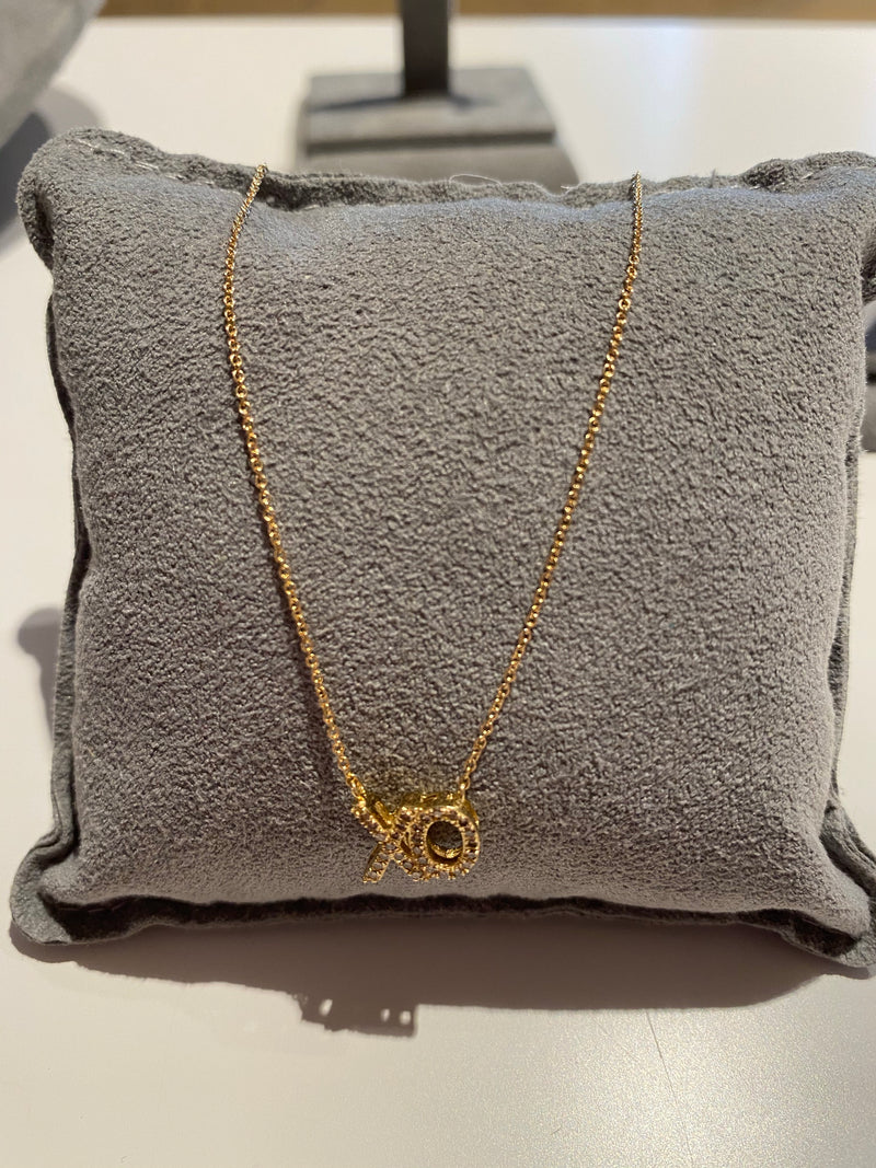 XO Necklace 14k Gold with Diamonds VN5