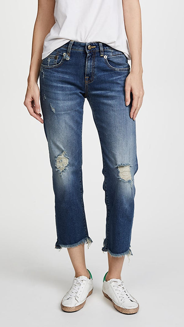 Boy Straight Jeans with Rips