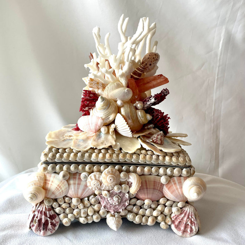 Small Shell and Coral and Crystal Decorated Box