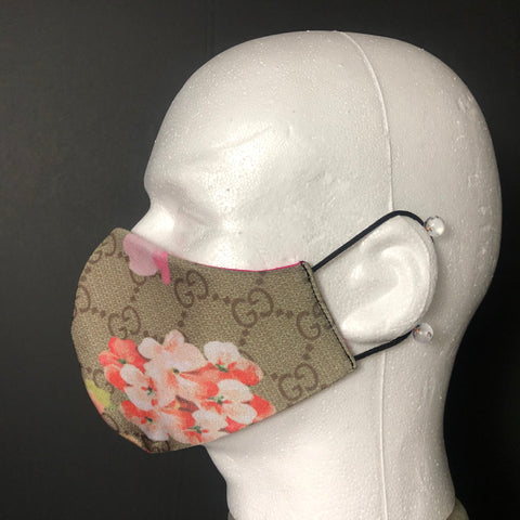 Fashion Face Cover - Beige Floral Designer Print