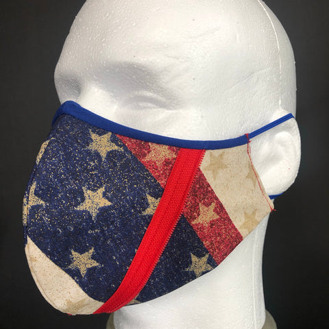 Fashion Face Cover - Red Zipper Red, White, and Blue Print - Patriotic