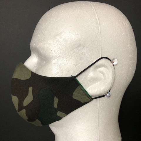 Fashion Face Cover - Green Camouflage Print