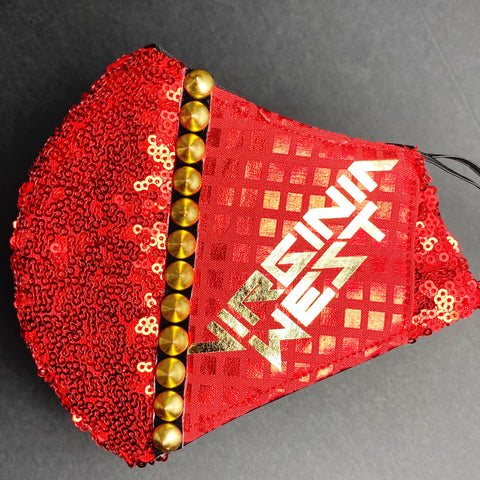 Virginia West - Shiny Red, Sequins, Gold Foil Text, Spikes