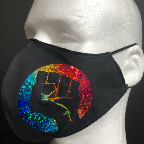 PRIDE - Rainbow Shiny Fist on black - $1 per sale goes to The Trevor Project