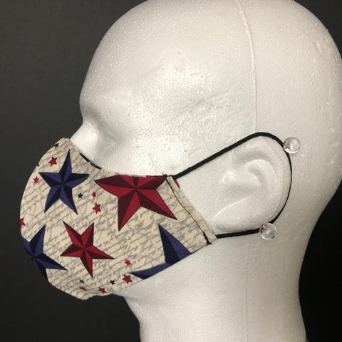 Fashion Face Cover - Red, White, and Blue Stars Print - Patriotic