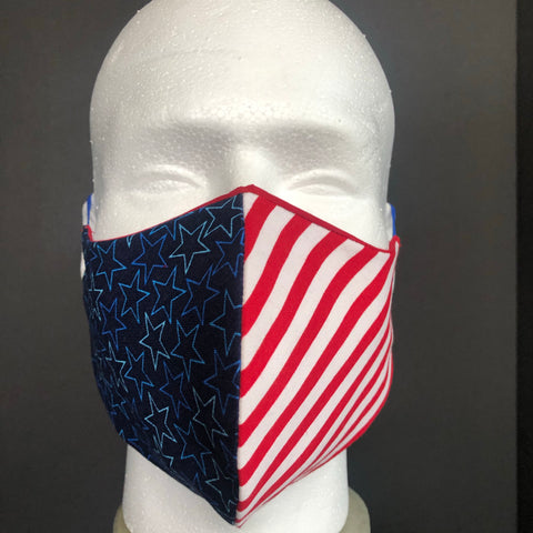 Fashion Face Cover - Combo Red, White, and Blue Print - Patriotic