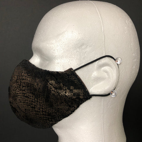Fashion Face Cover - Black Faux Leather Fabric