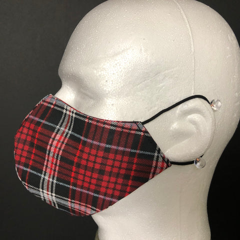 Fashion Face Cover - Red & Black Plaid Print