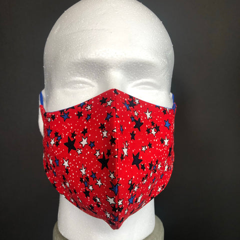 Fashion Face Cover - Red, White, and Blue Mini Stars Print - Patriotic