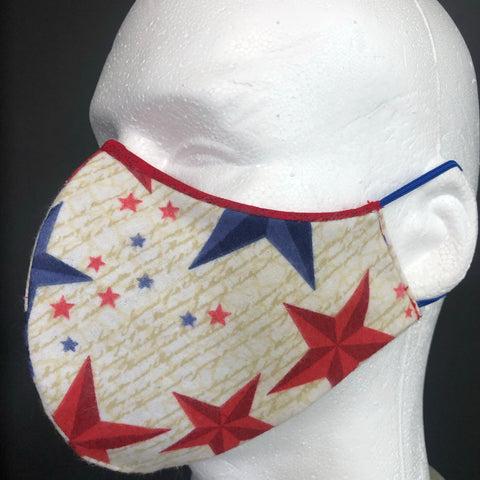 Fashion Face Cover - Felt Red, White, and Blue Print - Patriotic