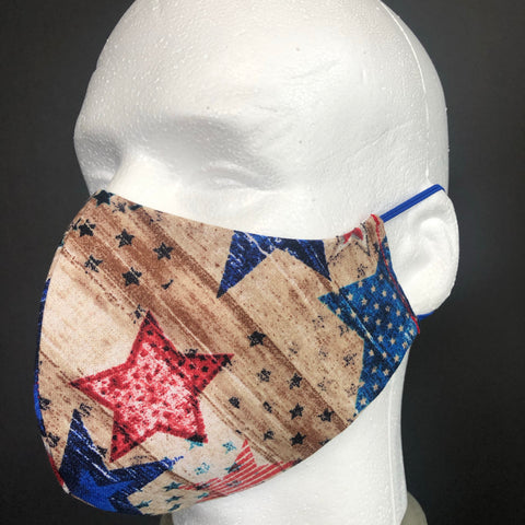 Fashion Face Cover - Rustic Red, White, and Blue Print - Patriotic