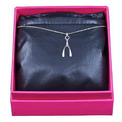 Lucky Wishbone Necklace, Sterling Silver