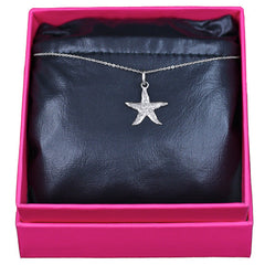 Starfish Necklace, 14k White Gold