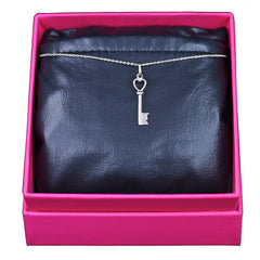 Key Necklace, 14k White Gold