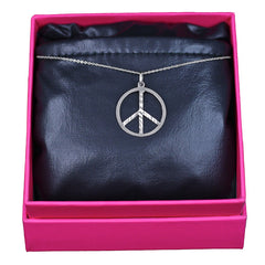 Peace Necklace, 14k White Gold