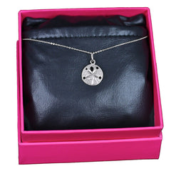 Sand Dollar Necklace, 14k White Gold
