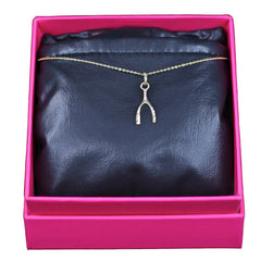 Wishbone Necklace, 14k Yellow Gold