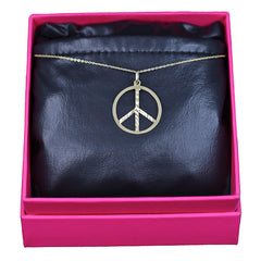 Peace Necklace, 14k Yellow Gold