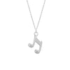 Music Note Necklace, 925 Sterling Silver