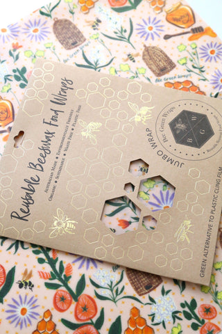 Beeswax Food Wraps - Jumbo Wrap (Bees and Flowers)