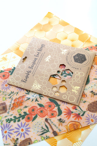 Beeswax Food Wraps - Lunch Pack (Hive / Bees and Flowers)