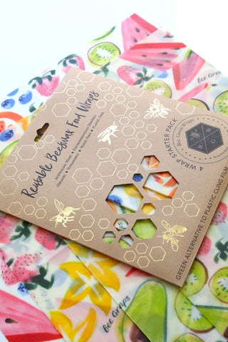 Beeswax Food Wraps - Starter Pack (Fruit)