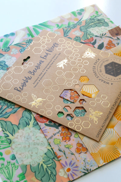 Beeswax Food Wraps - Starter Pack (Variety Mix - Hive, Bee, Cauliflower, Leek+Celery)