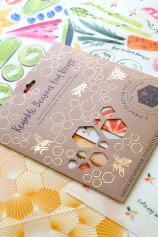 Beeswax Food Wraps - Starter Pack (Variety Mix - Fruit, Veggie, Hive)