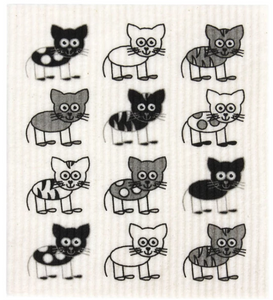 RetroKitchen Compostable Dish Cloth (Cat Print)