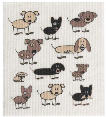 RetroKitchen Compostable Dish Cloth (Dog Print)