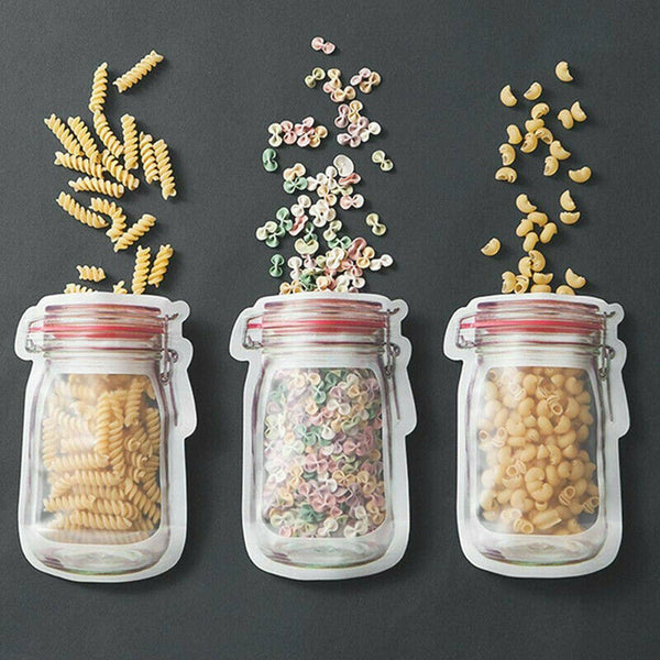 "Reusable ""Mason Jar"" Food Storage Pouch Set (3 pack)"