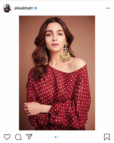Alia wearing chandbalis with off shoulder kurtis