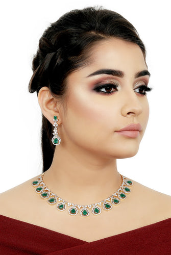 Diamond Necklace Set - Green stone necklace  and earrings - Kiwibay