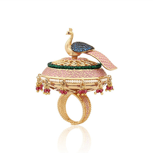 Peacock Cocktail Ring - Contemporary Indian Jewellery - Kiwibay