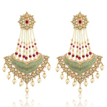 Load image into Gallery viewer, Ruby Green Diamond Earrings - Bollywood style chaandbalis - Kiwibay