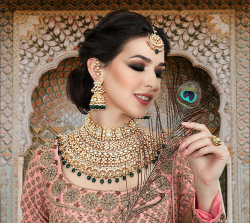 Designer Bridal set - Green, Kundan and Golden - Kiwibay