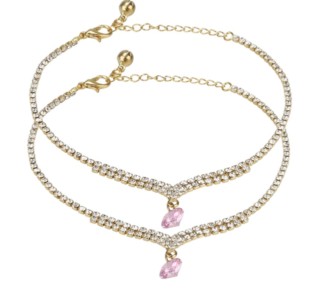 Golden and Crystal look Anklet - Kiwibay
