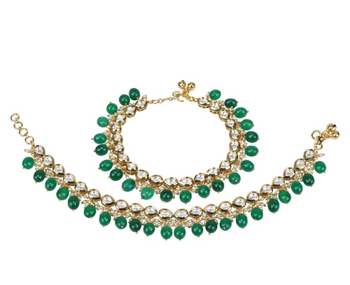 Green Emerald Drop and Kundan Anklet - Kiwibay