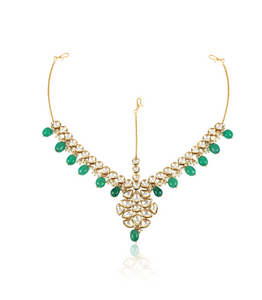 Kundan Pearl Green White Matha Patti - Kiwibay