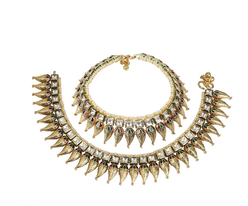 Kundan work designer Antique Anklet - Kiwibay