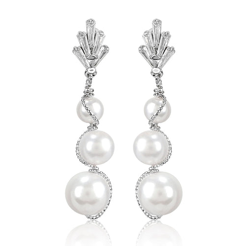 Pearl and Artificial Silver Dangling Earrings - Kiwibay