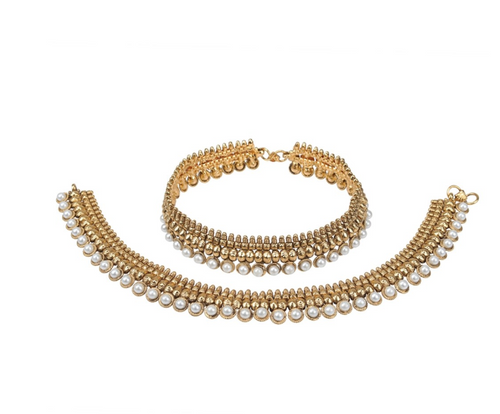 Pearl traditional Indian Anklet - Kiwibay