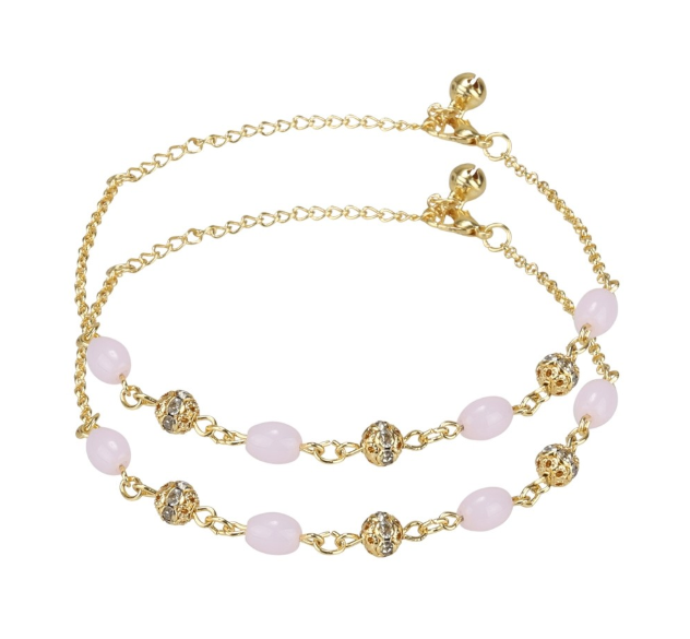 Pink Pearl and Beads Anklet - Kiwibay