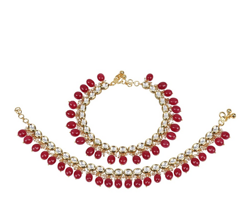 Ruby Emerald Drop and Kundan Anklet - Kiwibay