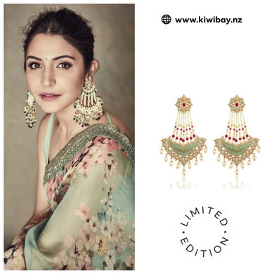 Ruby Green Diamond Earrings - Bollywood style chaandbalis - Kiwibay
