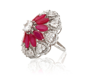 Diamond Ruby Cocktail Ring - Kiwibay